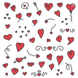 A big collection of hand drawn hearts and arrows. On white background. Valentine's Day doodle set Royalty Free Stock Image