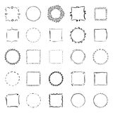 Big collection of handdrawn borders. Handdrawn doodle frames. Royalty Free Stock Image