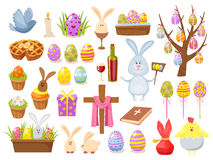 Big Collection of Happy Easter Objects. Flat Design Vector Illustration. Set of Spring Religious Christian Colorful Royalty Free Stock Photos