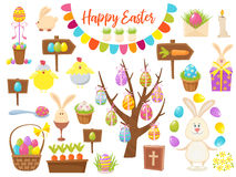 Big Collection of Happy Easter Objects. Flat Design Vector Illustration. Set of Spring Religious Christian Colorful Stock Photos