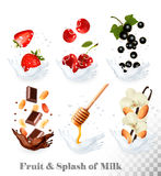 Big collection of icons of fruit and berries in a milk splash. stock illustration