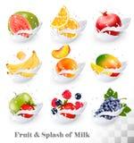 Big collection icons of fruit in a milk splash. Guava, banana, orange, apple, grapes, strawberry, pomegranate, peach, mango. Vector Set Stock Photos