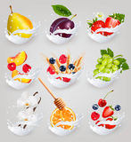 Big collection icons of fruit in a milk splash. Raspberry, strawberry, mango, vanilla, peach, apple Stock Images