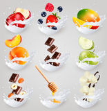 Big collection icons of fruit in a milk splash. Stock Photos