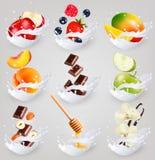 Big collection icons of fruit in a milk splash. Raspberry, strawberry, mango, vanilla, peach, apple, honey, nuts, chocolate Vector Set 3 Stock Photos