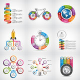 Big collection infographics. Design elements. Infographics for business presentations or information banner. Royalty Free Stock Photography