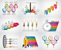 Big collection infographics. Design elements. Infographics for business presentations or information banner. Stock Photos