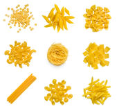 Big collection of italian pasta on white Royalty Free Stock Photography