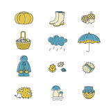 Big collection of linear icons with different autumn symbols. Clothing, jam, weather, mushrooms, harvest and other fall elements. royalty free stock images