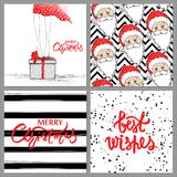 Big collection with Merry Christmas and Happy New Year 2017. Beautiful festive bright decoration for holiday greeting cards.Xmas illustrations with girl,gift Stock Photos