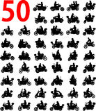 Big collection of motorcyclist silhouettes Stock Image