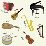 Big collection of music instruments. Vector illustration stock illustration