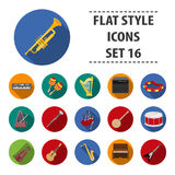 Big collection of musical instruments vector symbol stock illustration. Musical instruments set icons in flat style. Big collection of musical instruments Stock Images
