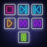 Big collection neon music symbols. Neon symbols design elements vector illustration