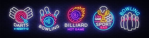 Big collection neon signs for Bowling, Darts, Billiards, Football Pub. Set Logos neon, light emblems signs and symbols royalty free illustration