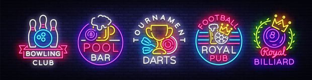 Big Collection Neon Signs For Bowling, Darts, Billiards, Football Pub. Set Logos Neon, Light Emblems Signs And Symbols Stock Photo
