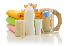 Big Collection Of Bathing Accessories Royalty Free Stock Photo