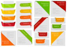 Big Collection Of Colorful Origami Paper Banners. Royalty Free Stock Photography