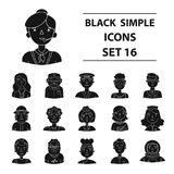 Big collection of people of different profession vector symbol. People of different profession set icons in black design. Big collection of people of different Royalty Free Stock Photography