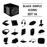 Big collection of personal computer accessories vector symbol Stock Photography