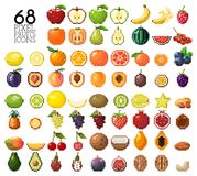 Big collection of pixel fruits, berries and nuts. Old style 8 bit icons. Apple, banana, cherry, lemon, mango, kiwi and other isolated on white background Vector Illustration