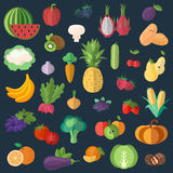 Big collection of premium quality fruits and vegetables in a flat style Royalty Free Stock Image