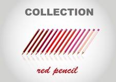 Big collection RED color pencil Stock Photos