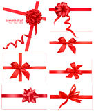 Big collection of red gift bows. Stock Image