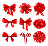 Big collection of red gift bows with ribbons Royalty Free Stock Image