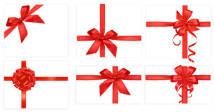 Big collection of red gift bows. Vector. Royalty Free Stock Photo