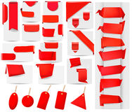 Big collection of red origami paper banners Royalty Free Stock Photos