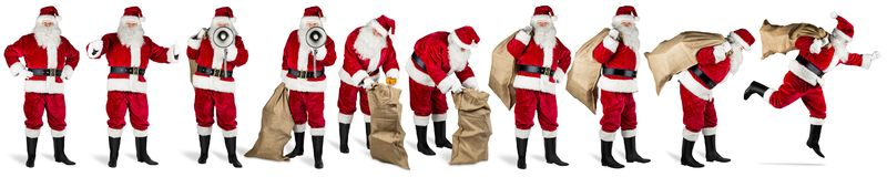 Big collection of santa claus red white isolated background stock image