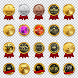Big Collection Set of Champion, High Quality, Best Choice and Of. Fer Business Gold Medal  Icon Sign   on Transparent Background. Vector Illustration EPS10 Stock Photography