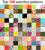 Big Collection, Set of 100 Top Seamless Pattern Backgrounds. Vec Royalty Free Stock Photos