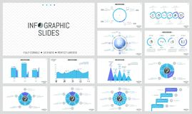 Big collection of simple infographic design layouts. Colorful bar charts, round diagrams with sectors, arrows and. Percentage indication. Vector illustration Stock Image