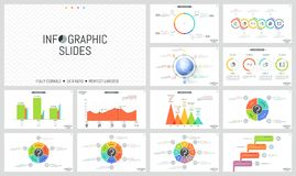 Big collection of simple infographic design layouts. Colorful bar charts, round diagrams with sectors, arrows and. Percentage indication. Vector illustration Stock Images