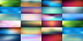 Big collection of smooth and blurry colorful gradient mesh background. Vector illustration with bright colors. Easy editable soft colored vector banner Royalty Free Stock Image