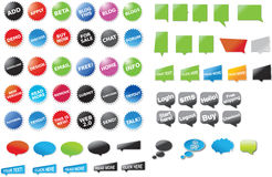 A big collection of stickers and speech bubbles w. A huge collection of icons and graphics Royalty Free Stock Photos