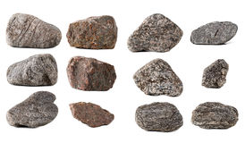 Big Collection stones isolated Royalty Free Stock Photography