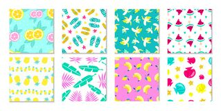 Big collection of summer patterns. Tropical backgrounds with leaves and flowers. Summer prints and patterns with fruits, seashell stock illustration