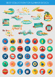 Big collection of summer typographical elements for design and colorful summer vacation, beach, seaside marine icons Stock Photos