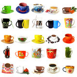 Big collection of  tea mugs and coffee cups Royalty Free Stock Images