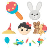 Big collection of toys vector symbol stock illustration. Toys set icons in cartoon style. Big collection of toys vector symbol stock Stock Photos