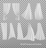 Big collection of transparent curtains. Royalty Free Stock Photos