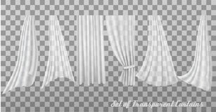 Big collection of transparent curtains. Royalty Free Stock Image
