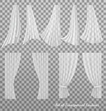 Big collection of transparent curtains. Stock Photo