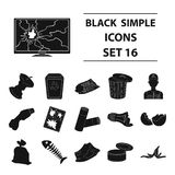 Big collection of trash and garbage vector symbol stock illustration. Trash and garbage set icons in black design. Big collection of trash and garbage vector Stock Photography
