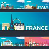 Big Collection of Travel banners to the Europe. Schengen. Vecor Flat illustration. Royalty Free Stock Images