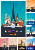 Big Collection of Travel posters to the Europe. Schengen. Vecor Flat illustration. Royalty Free Stock Photo