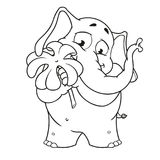 Big collection vector cartoon characters of elephants on an isolated background. Holds clover for good luck vector illustration